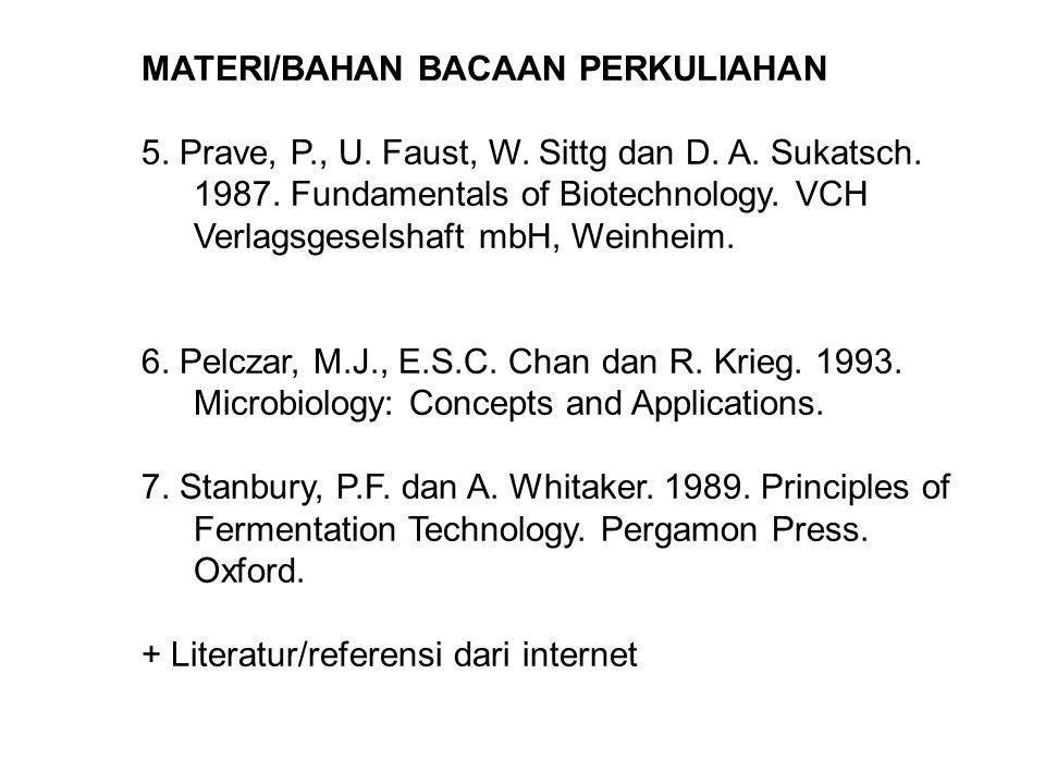 MATERI/BAHAN BACAAN PERKULIAHAN 5. Prave, P., U. Faust, W. Sittg dan D. A. Sukatsch. 1987. Fundamentals of Biotechnology. VCH Verlagsgeselshaft mbH, W