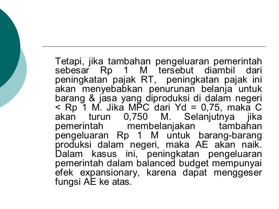 Tetapi, jika tambahan pengeluaran pemerintah sebesar Rp 1 M tersebut diambil dari peningkatan pajak RT, peningkatan pajak ini akan menyebabkan penurun