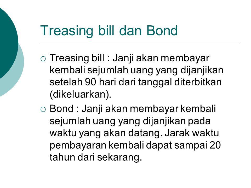 Treasing bill dan Bond  Treasing bill : Janji akan membayar kembali sejumlah uang yang dijanjikan setelah 90 hari dari tanggal diterbitkan (dikeluark