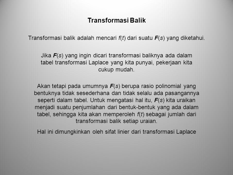Transformasi balik adalah mencari f(t) dari suatu F(s) yang diketahui. Transformasi Balik Akan tetapi pada umumnya F(s) berupa rasio polinomial yang b