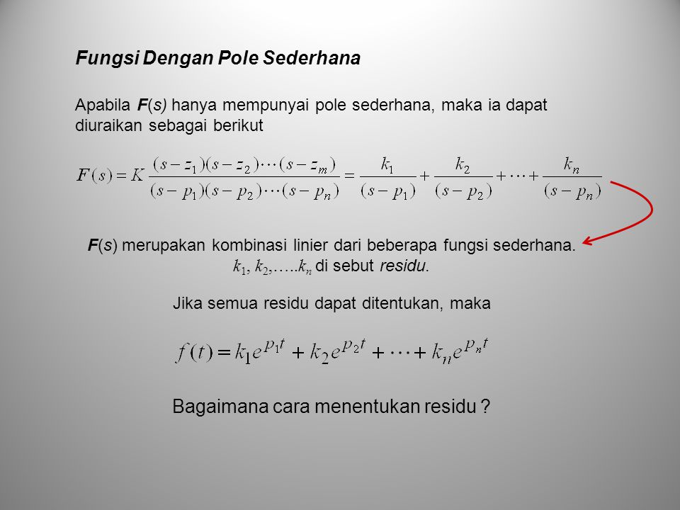 Fungsi Dengan Pole Sederhana F(s) merupakan kombinasi linier dari beberapa fungsi sederhana. k 1, k 2,…..k n di sebut residu. Jika semua residu dapat