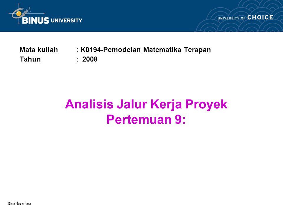 Bina Nusantara Analisis Jalur Kerja Proyek Pertemuan 9: Mata kuliah: K0194-Pemodelan Matematika Terapan Tahun: 2008