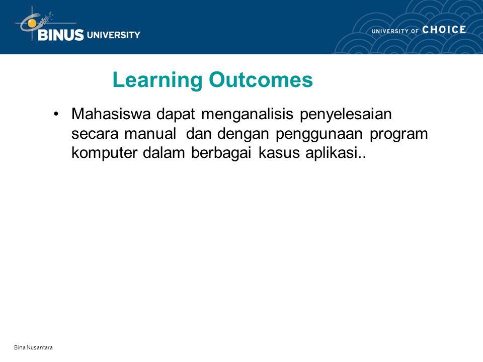 Bina Nusantara Learning Outcomes Mahasiswa dapat menganalisis penyelesaian secara manual dan dengan penggunaan program komputer dalam berbagai kasus aplikasi..