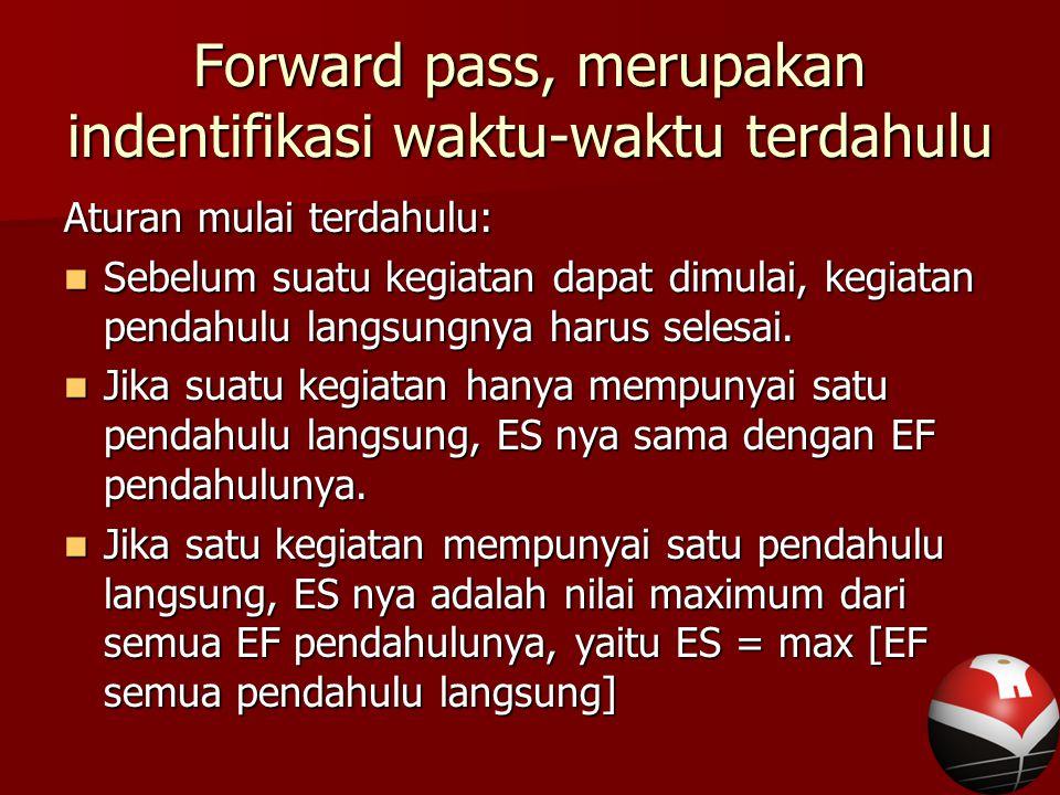 Forward pass, merupakan indentifikasi waktu-waktu terdahulu Aturan mulai terdahulu: Sebelum suatu kegiatan dapat dimulai, kegiatan pendahulu langsungnya harus selesai.