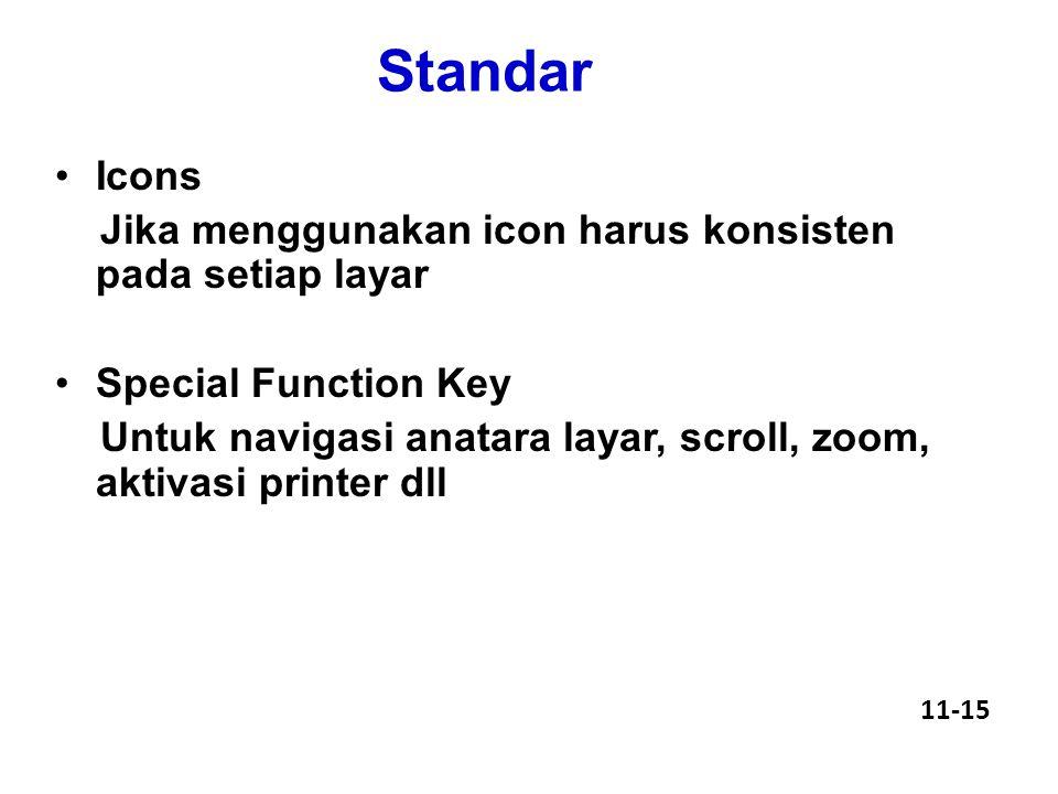 Standar Icons Jika menggunakan icon harus konsisten pada setiap layar Special Function Key Untuk navigasi anatara layar, scroll, zoom, aktivasi printer dll 11-15