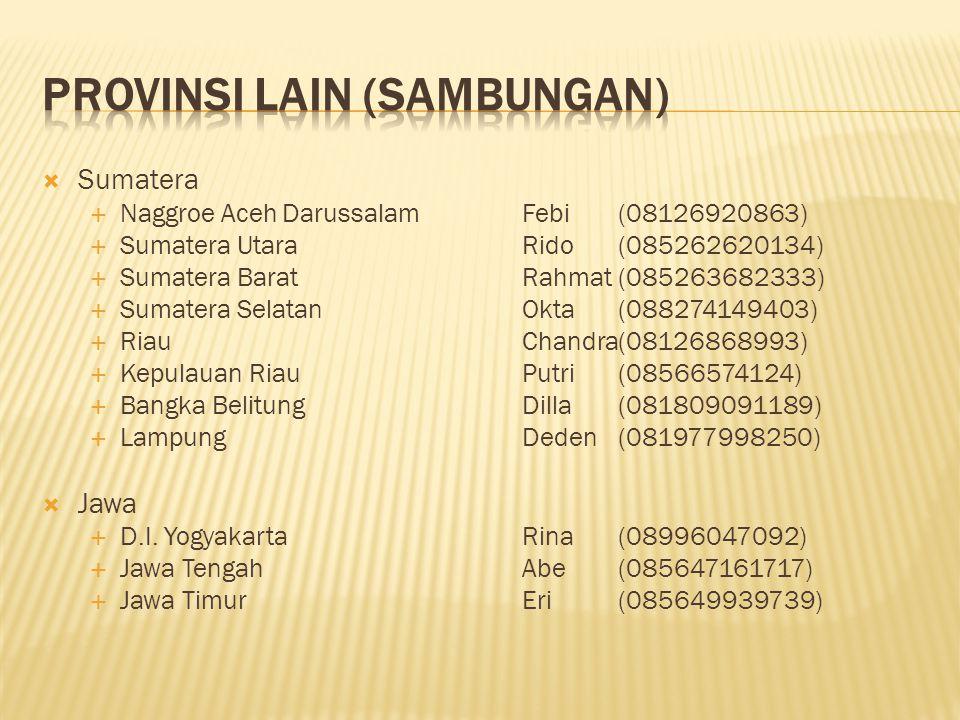  Sumatera  Naggroe Aceh DarussalamFebi(08126920863)  Sumatera UtaraRido(085262620134)  Sumatera BaratRahmat(085263682333)  Sumatera SelatanOkta(0