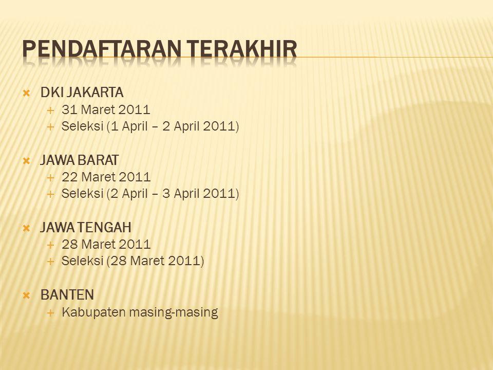  DKI JAKARTA  31 Maret 2011  Seleksi (1 April – 2 April 2011)  JAWA BARAT  22 Maret 2011  Seleksi (2 April – 3 April 2011)  JAWA TENGAH  28 Ma