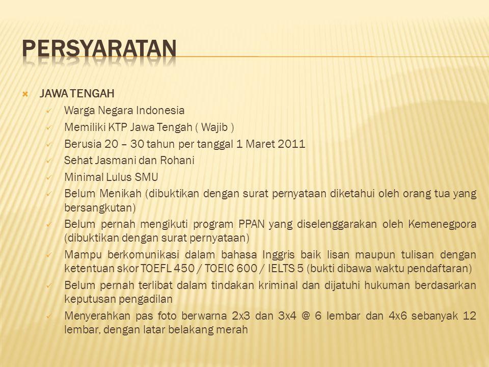  JAWA TENGAH Warga Negara Indonesia Memiliki KTP Jawa Tengah ( Wajib ) Berusia 20 – 30 tahun per tanggal 1 Maret 2011 Sehat Jasmani dan Rohani Minima