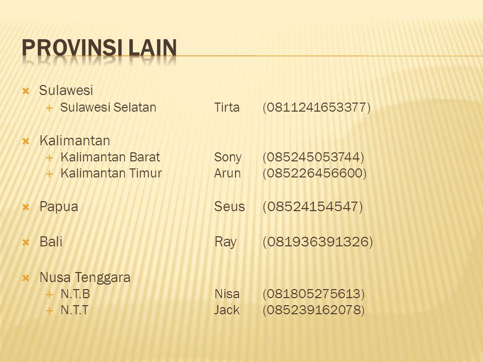  Sumatera  Naggroe Aceh DarussalamFebi(08126920863)  Sumatera UtaraRido(085262620134)  Sumatera BaratRahmat(085263682333)  Sumatera SelatanOkta(088274149403)  RiauChandra(08126868993)  Kepulauan RiauPutri(08566574124)  Bangka BelitungDilla(081809091189)  LampungDeden(081977998250)  Jawa  D.I.