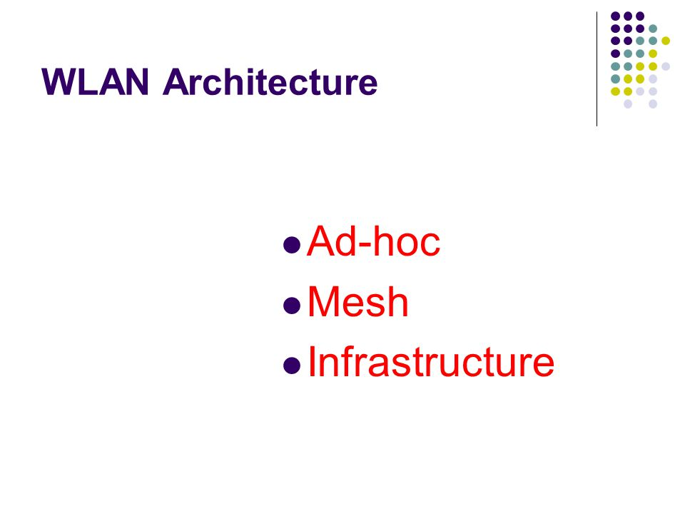 WLAN Architecture—Ad Hoc Mode Ad-Hoc mode: Peer-to-peer setup where clients can connect to each other directly.