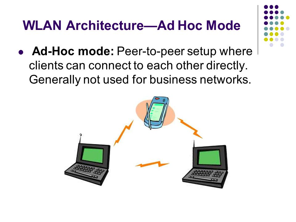 WLAN Architecture—Ad Hoc Mode Ad-Hoc mode: Peer-to-peer setup where clients can connect to each other directly. Generally not used for business networ