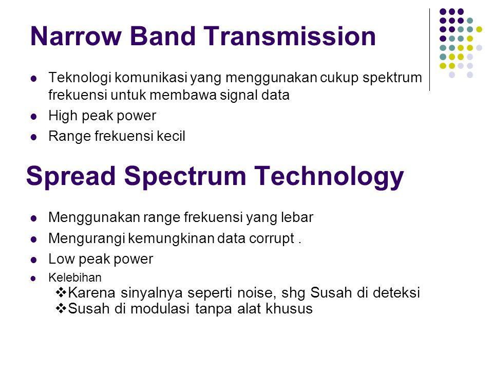Narrow Band Transmission Teknologi komunikasi yang menggunakan cukup spektrum frekuensi untuk membawa signal data High peak power Range frekuensi keci