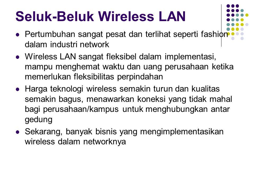 Seluk-Beluk Wireless LAN Pertumbuhan sangat pesat dan terlihat seperti fashion dalam industri network Wireless LAN sangat fleksibel dalam implementasi