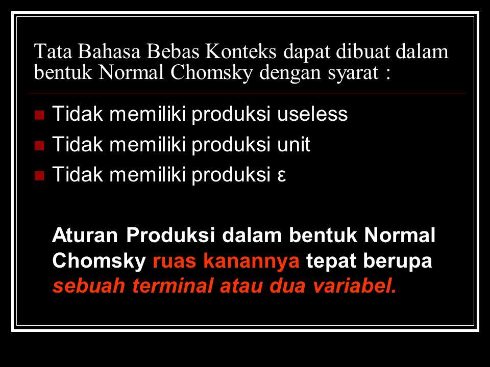 Tata Bahasa Bebas Konteks dapat dibuat dalam bentuk Normal Chomsky dengan syarat : Tidak memiliki produksi useless Tidak memiliki produksi unit Tidak
