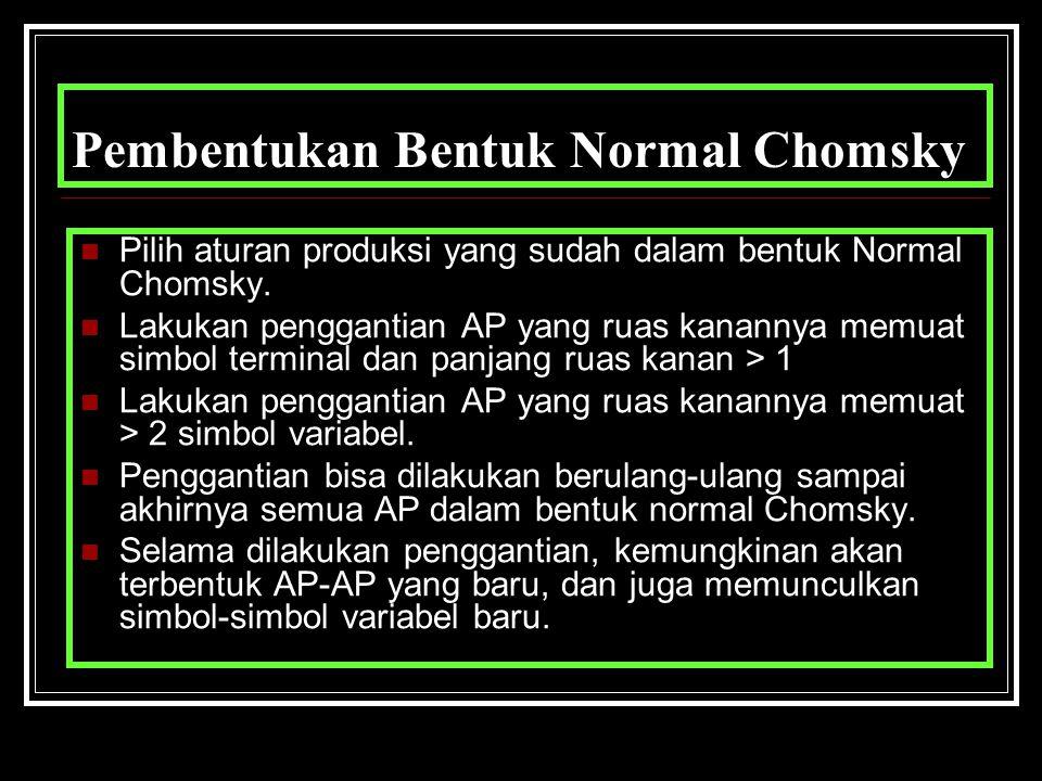 Pembentukan Bentuk Normal Chomsky Pilih aturan produksi yang sudah dalam bentuk Normal Chomsky. Lakukan penggantian AP yang ruas kanannya memuat simbo