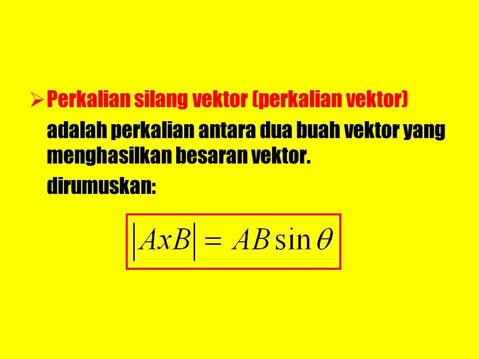 PPerkalian silang vektor (perkalian vektor) adalah perkalian antara dua buah vektor yang menghasilkan besaran vektor. dirumuskan: