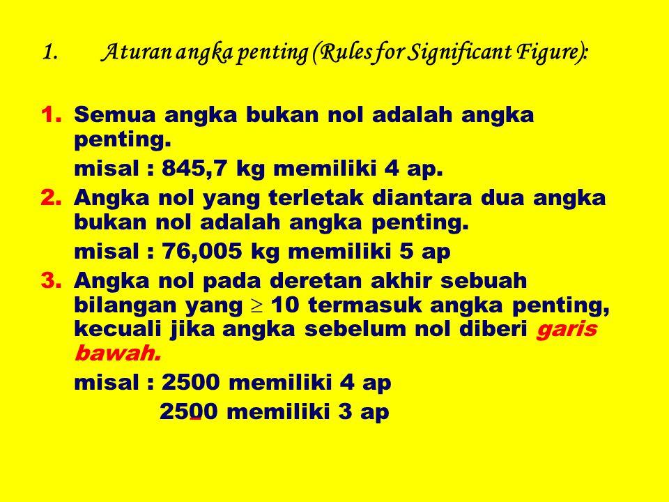 1.Aturan angka penting (Rules for Significant Figure): 1.Semua angka bukan nol adalah angka penting. misal : 845,7 kg memiliki 4 ap. 2.Angka nol yang