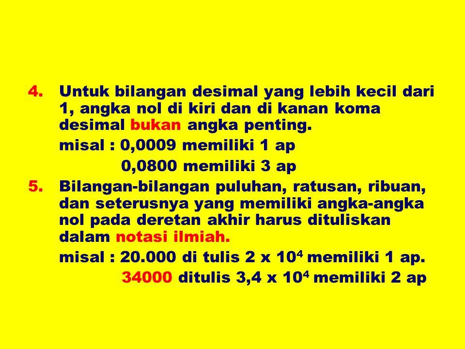 4.Untuk bilangan desimal yang lebih kecil dari 1, angka nol di kiri dan di kanan koma desimal bukan angka penting. misal : 0,0009 memiliki 1 ap 0,0800