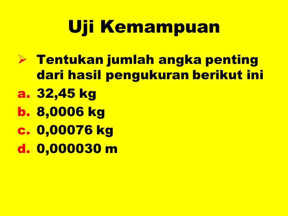 Uji Kemampuan  Tentukan jumlah angka penting dari hasil pengukuran berikut ini a.32,45 kg b.8,0006 kg c.0,00076 kg d.0,000030 m