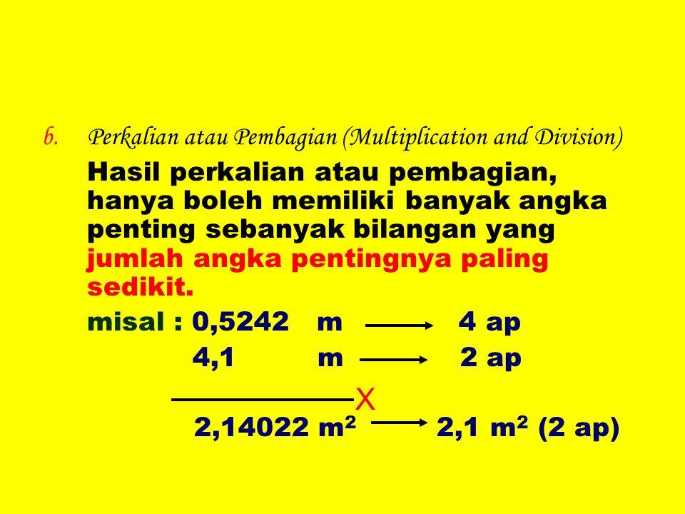 b.Perkalian atau Pembagian (Multiplication and Division) Hasil perkalian atau pembagian, hanya boleh memiliki banyak angka penting sebanyak bilangan y