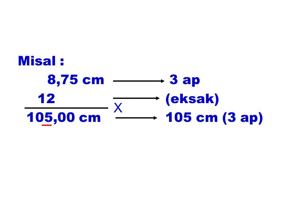 Misal : 8,75 cm 3 ap 12(eksak) 105,00 cm105 cm (3 ap) X