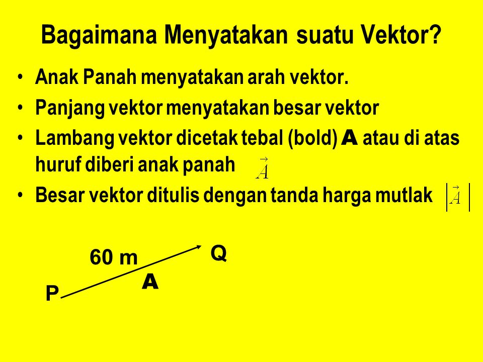 Bagaimana Menyatakan suatu Vektor? Anak Panah menyatakan arah vektor. Panjang vektor menyatakan besar vektor Lambang vektor dicetak tebal (bold) A ata