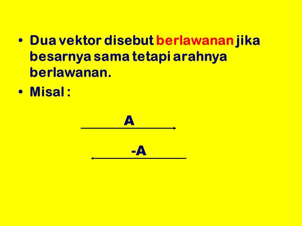 Dua vektor disebut berlawanan jika besarnya sama tetapi arahnya berlawanan. Misal : A -A