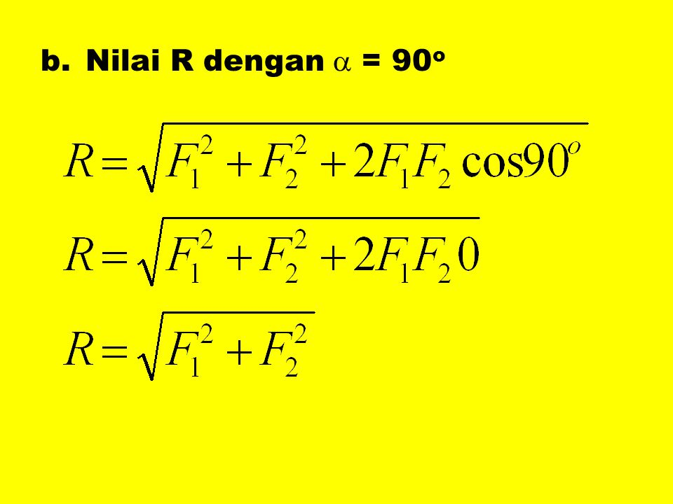 b.Nilai R dengan  = 90 o