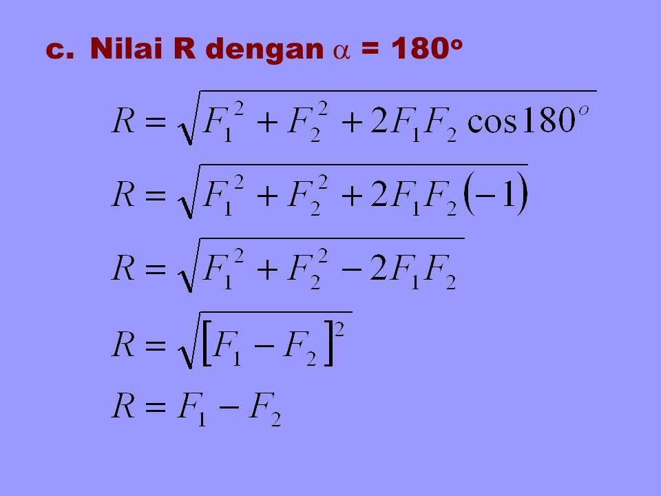 c.Nilai R dengan  = 180 o