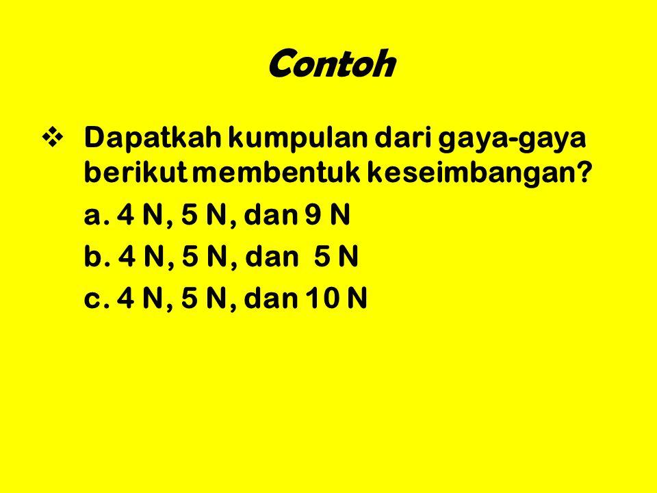 Contoh DDapatkah kumpulan dari gaya-gaya berikut membentuk keseimbangan? a. 4 N, 5 N, dan 9 N b. 4 N, 5 N, dan 5 N c. 4 N, 5 N, dan 10 N