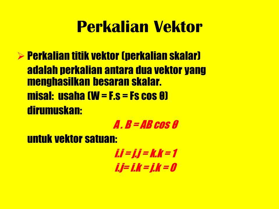 Perkalian Vektor PPerkalian titik vektor (perkalian skalar) adalah perkalian antara dua vektor yang menghasilkan besaran skalar. misal: usaha (W = F