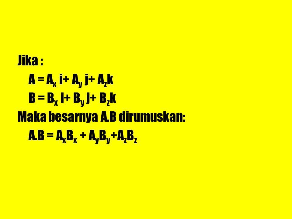 Jika : A = A x i+ A y j+ A z k B = B x i+ B y j+ B z k Maka besarnya A.B dirumuskan: A.B = A x B x + A y B y +A z B z