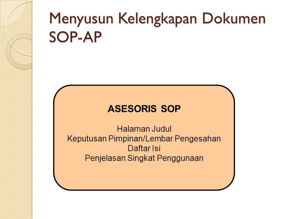 ASESORIS SOP Halaman Judul Keputusan Pimpinan/Lembar Pengesahan Daftar Isi Penjelasan Singkat Penggunaan Menyusun Kelengkapan Dokumen SOP-AP