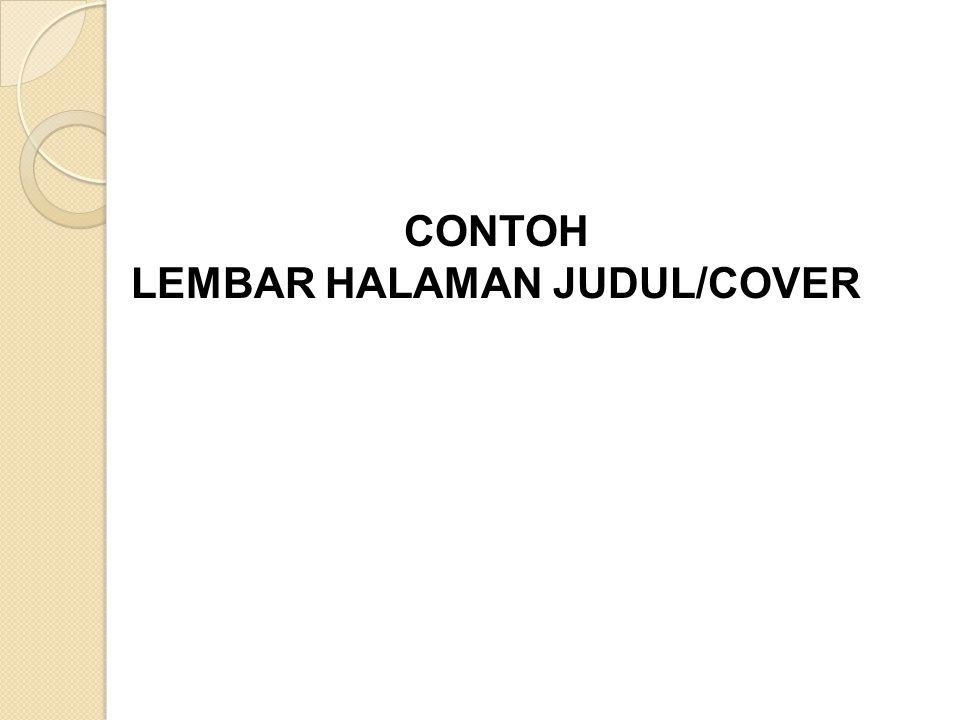 CONTOH LEMBAR HALAMAN JUDUL/COVER