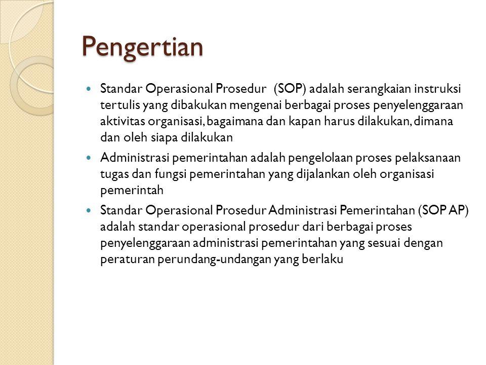 Pengertian Standar Operasional Prosedur (SOP) adalah serangkaian instruksi tertulis yang dibakukan mengenai berbagai proses penyelenggaraan aktivitas