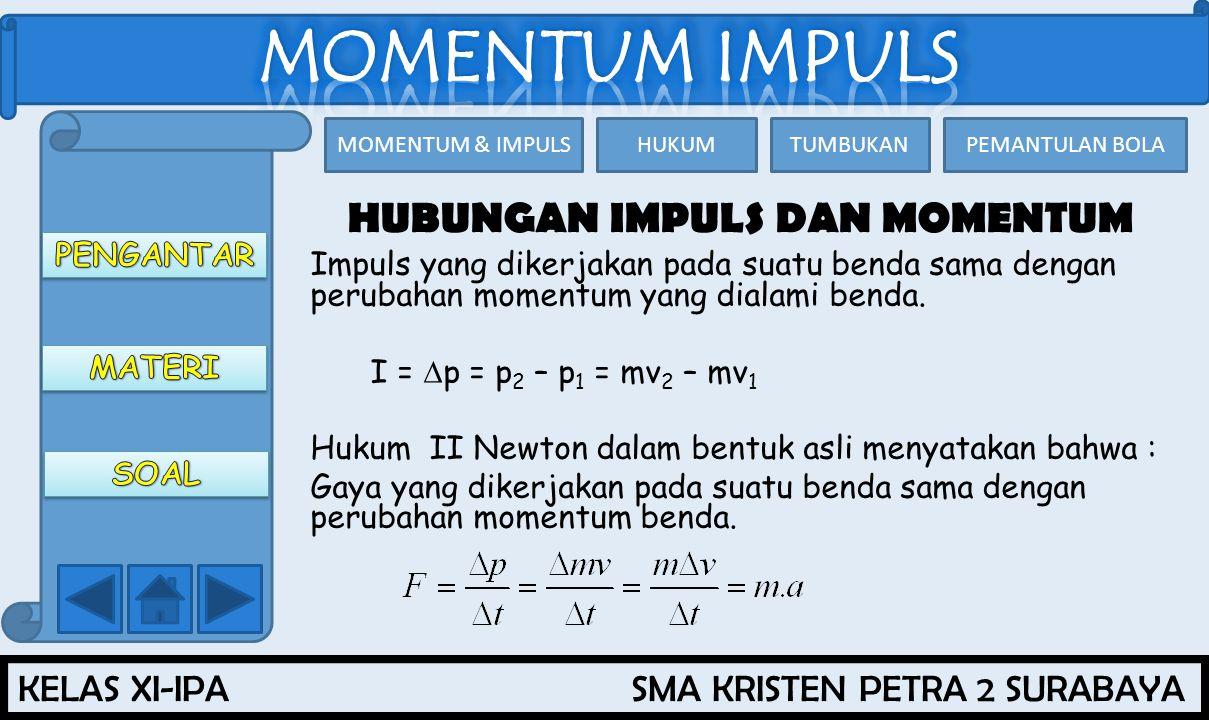 KELAS XI-IPA SMA KRISTEN PETRA 2 SURABAYA MOMENTUM & IMPULSHUKUMTUMBUKANPEMANTULAN BOLA HUBUNGAN IMPULS DAN MOMENTUM Impuls yang dikerjakan pada suatu benda sama dengan perubahan momentum yang dialami benda.