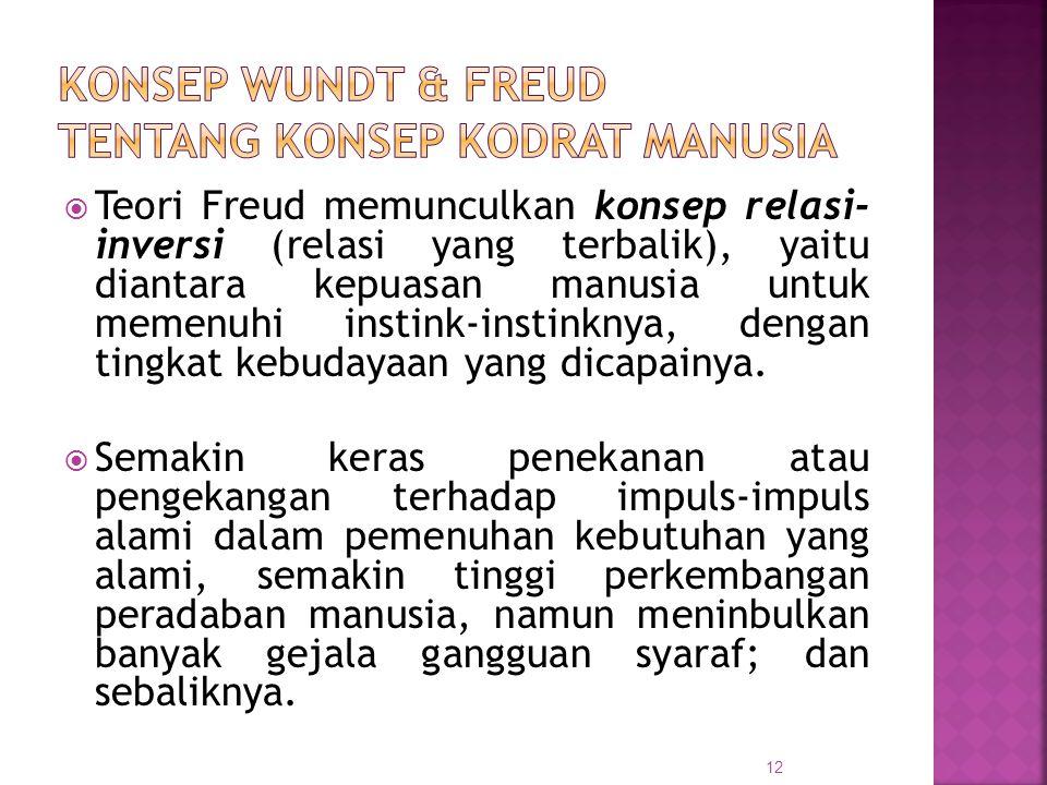  Teori Freud memunculkan konsep relasi- inversi (relasi yang terbalik), yaitu diantara kepuasan manusia untuk memenuhi instink-instinknya, dengan tin
