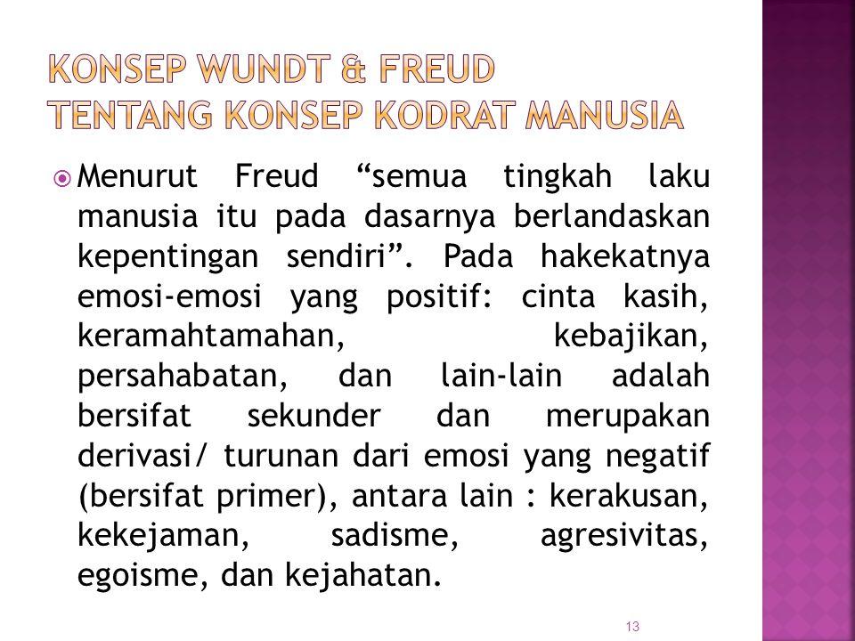 """ Menurut Freud """"semua tingkah laku manusia itu pada dasarnya berlandaskan kepentingan sendiri"""". Pada hakekatnya emosi-emosi yang positif: cinta kasih"""
