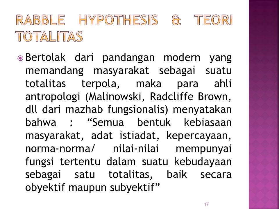  Bertolak dari pandangan modern yang memandang masyarakat sebagai suatu totalitas terpola, maka para ahli antropologi (Malinowski, Radcliffe Brown, d