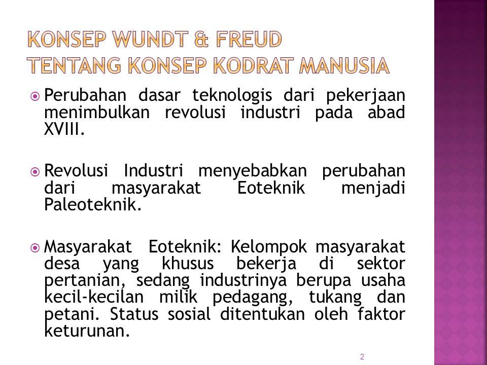  Perubahan dasar teknologis dari pekerjaan menimbulkan revolusi industri pada abad XVIII.  Revolusi Industri menyebabkan perubahan dari masyarakat E