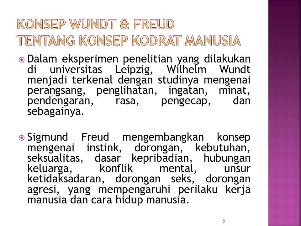  Menurut Freud : Unsur nafsu dan kecemasan yg menjadi ciri manusia modern dan bersumber pada konstruksi biologis manusia, mendorong manusia bertingkah laku/ melakukan macam-macam kegiatan di tengah masyarakat.