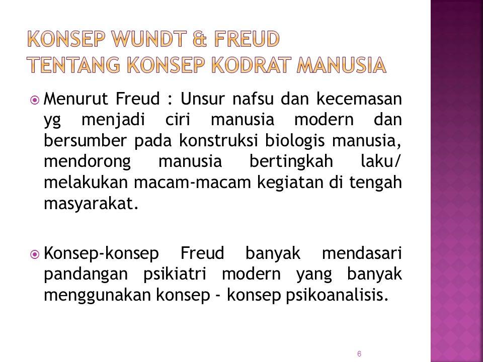  Menurut Freud : Unsur nafsu dan kecemasan yg menjadi ciri manusia modern dan bersumber pada konstruksi biologis manusia, mendorong manusia bertingka
