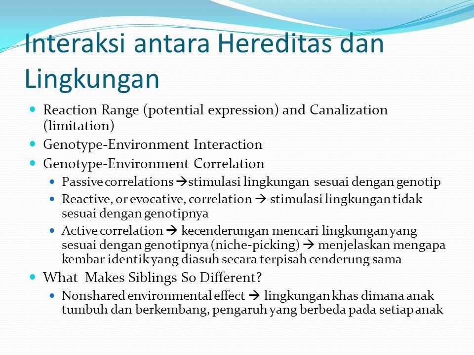 Interaksi antara Hereditas dan Lingkungan Reaction Range (potential expression) and Canalization (limitation) Genotype-Environment Interaction Genotyp