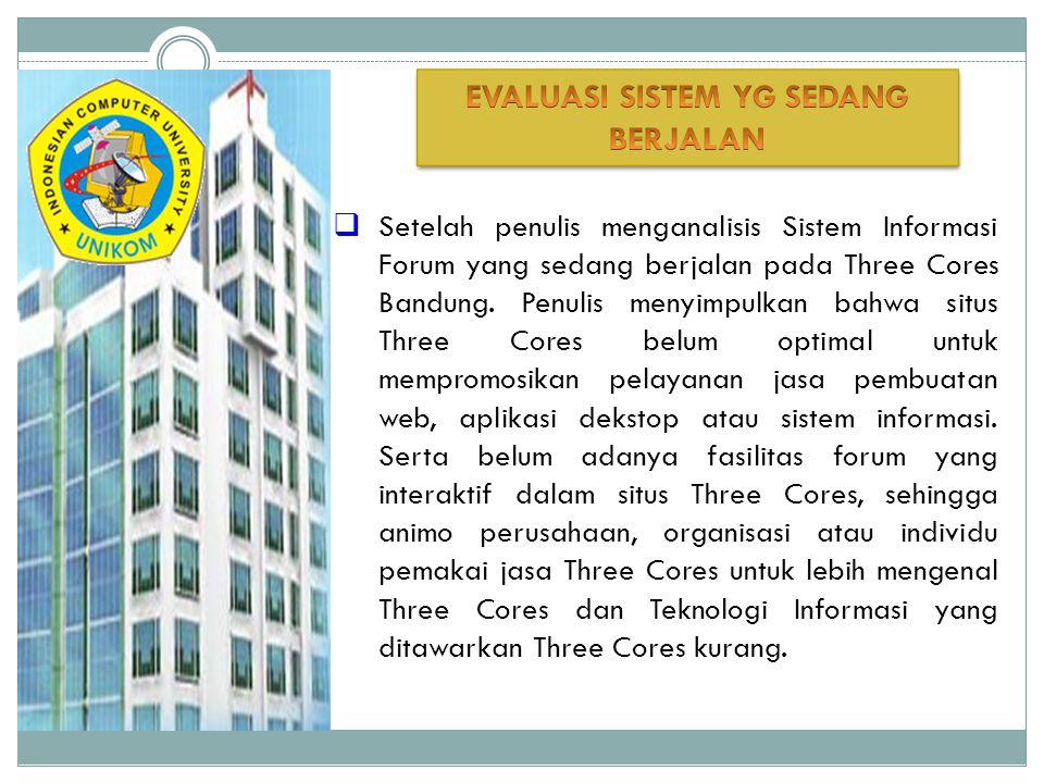  Setelah penulis menganalisis Sistem Informasi Forum yang sedang berjalan pada Three Cores Bandung. Penulis menyimpulkan bahwa situs Three Cores belu