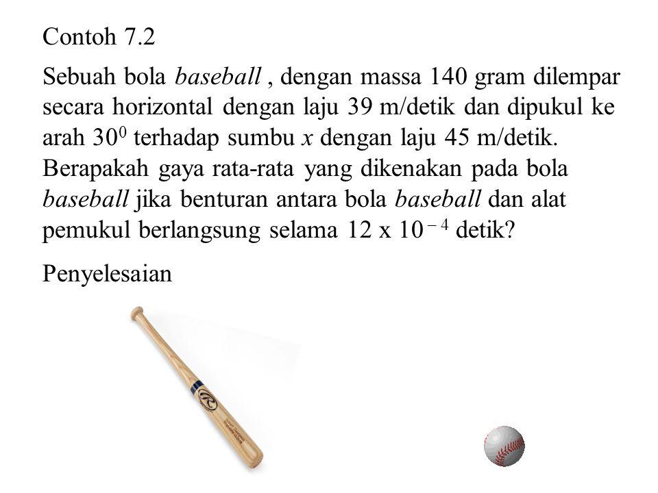 Contoh 7.2 Sebuah bola baseball, dengan massa 140 gram dilempar secara horizontal dengan laju 39 m/detik dan dipukul ke arah 30 0 terhadap sumbu x den