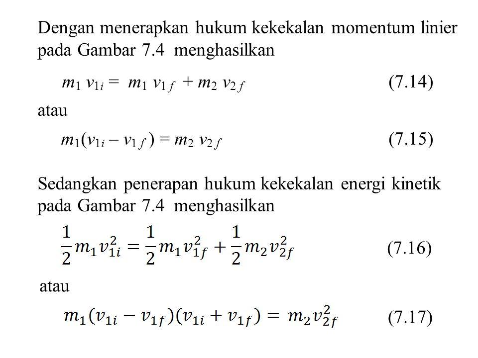 Dengan menerapkan hukum kekekalan momentum linier pada Gambar 7.4 menghasilkan m 1 v 1i = m 1 v 1 f + m 2 v 2 f (7.14) atau m 1 (v 1i – v 1 f ) = m 2
