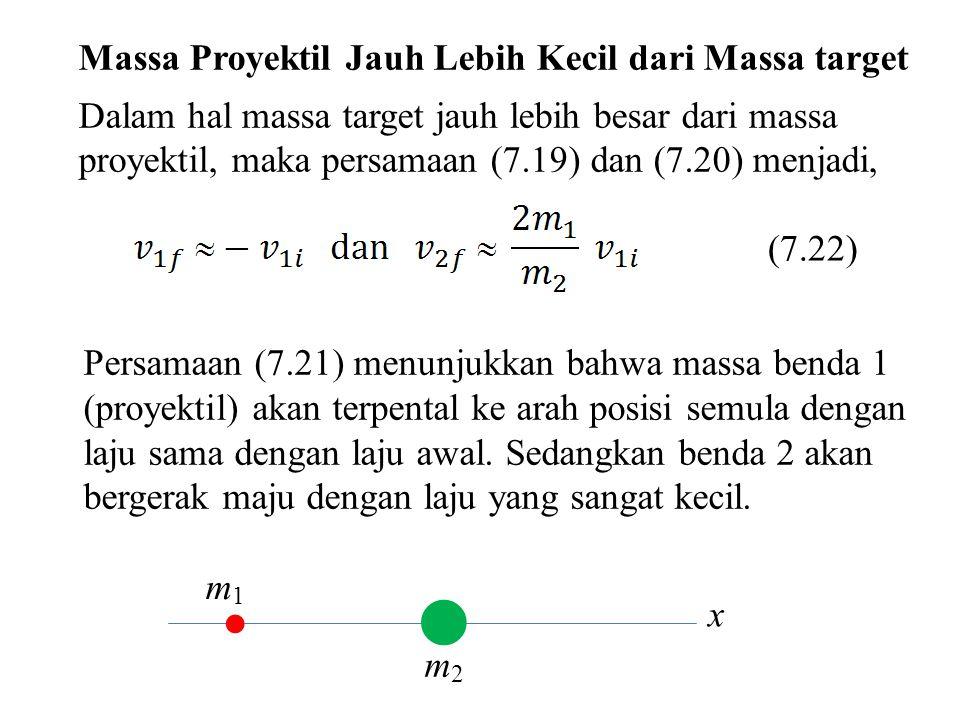 x Massa Proyektil Jauh Lebih Kecil dari Massa target Dalam hal massa target jauh lebih besar dari massa proyektil, maka persamaan (7.19) dan (7.20) me