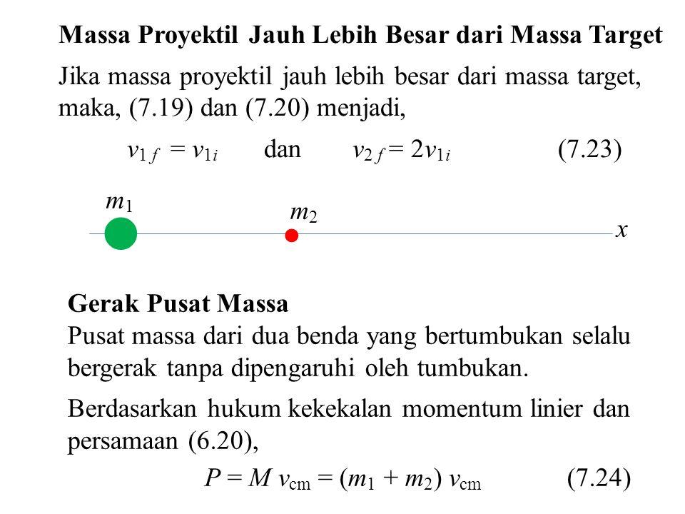 x  m1m1  m2m2 Massa Proyektil Jauh Lebih Besar dari Massa Target Jika massa proyektil jauh lebih besar dari massa target, maka, (7.19) dan (7.20) me