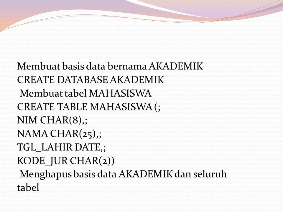 Membuat basis data bernama AKADEMIK CREATE DATABASE AKADEMIK Membuat tabel MAHASISWA CREATE TABLE MAHASISWA (; NIM CHAR(8),; NAMA CHAR(25),; TGL_LAHIR DATE,; KODE_JUR CHAR(2)) Menghapus basis data AKADEMIK dan seluruh tabel