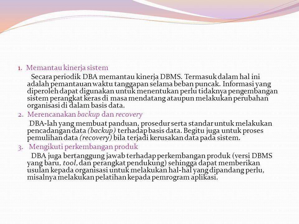 1. Memantau kinerja sistem Secara periodik DBA memantau kinerja DBMS.